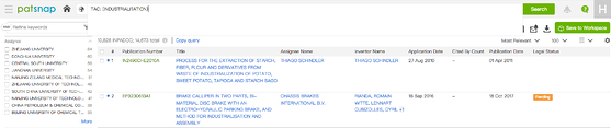 """Patent search result for """"industriali?ation"""" including wildcard on PatSnap platform"""