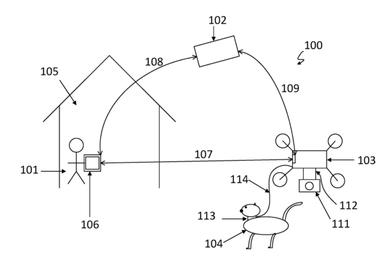 Pet walking patent from DJI - US9861075