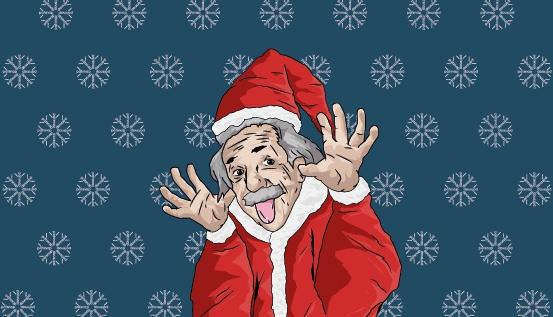 Albert Einstein wearing a Santa costume at Christmas | PatSnap