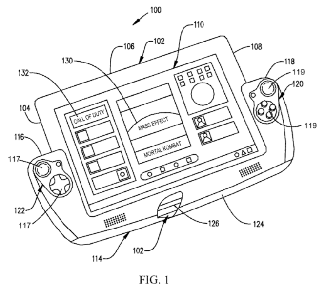 US9126119 - Combination Computing Device And Game Controller With Flexible Bridge Section