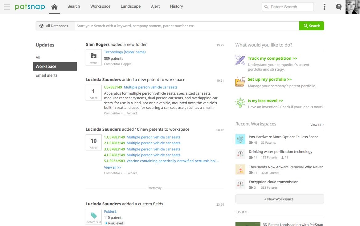 PatSnap Analytics Homepage User Experience