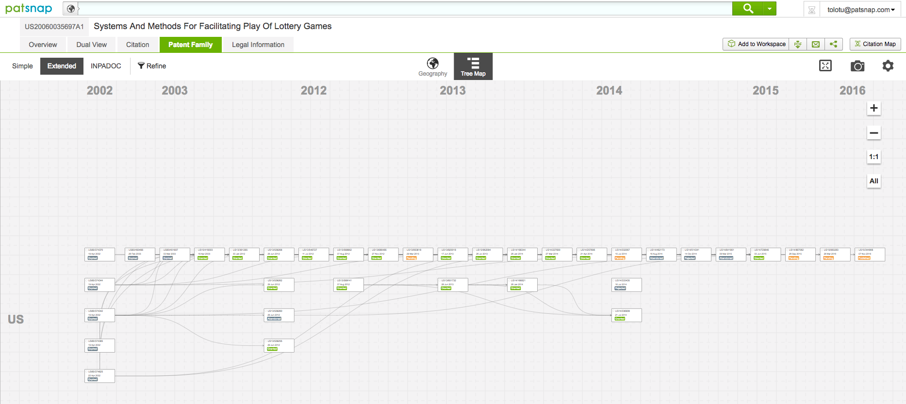 Patent Family Tree Map