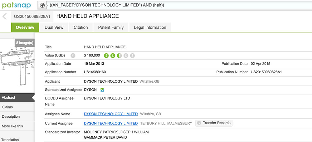 Dyson hairdryer patent